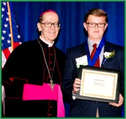 2018 ACS Catholic Community Foundation Scholarship</br> Winner pictured with Bishop Olmsted
