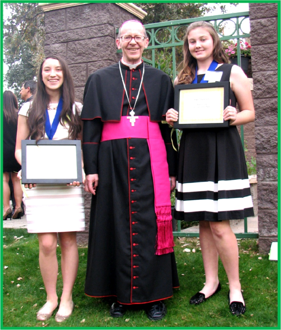 2016 ACS Catholic Community Foundation Scholarship Winners </br>pictured with Bishop Olmsted